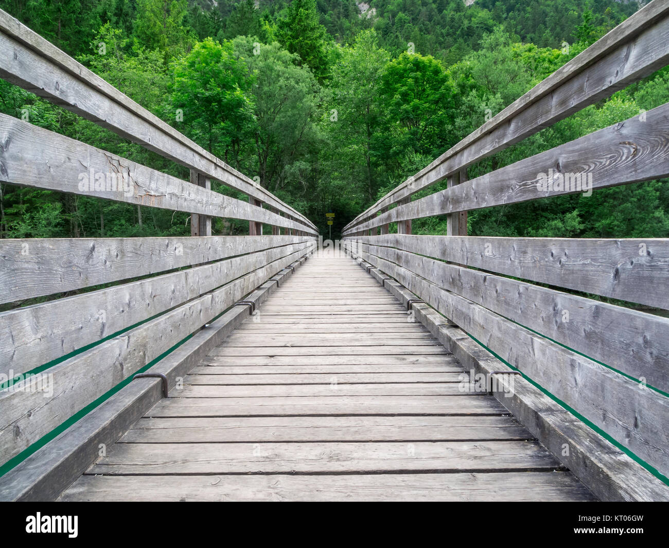 Central perspective view on the bridge over the Plansee in Austria. - Stock Image