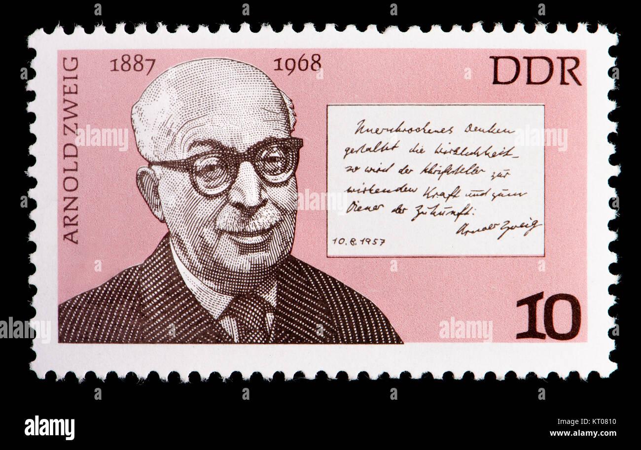 East German (DDR) postage stamp (1977): Arnold Zweig (1887 – 1968) German writer and anti-war and antifascist activist - Stock Image