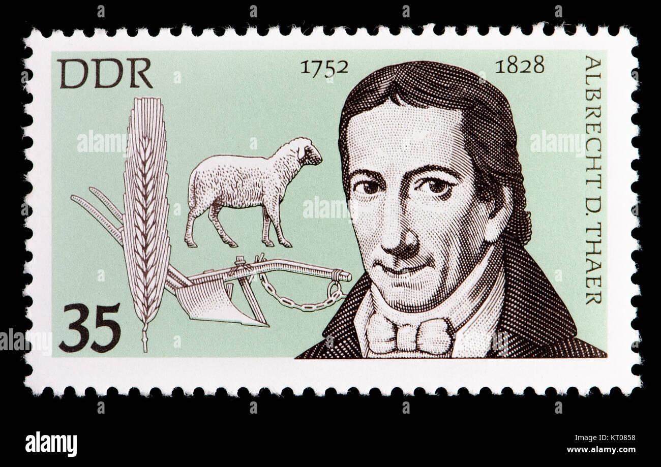 East German (DDR) postage stamp (1977): Albrecht Daniel Thaer (1752 – 1828) German agronomist and agriculturist - Stock Image