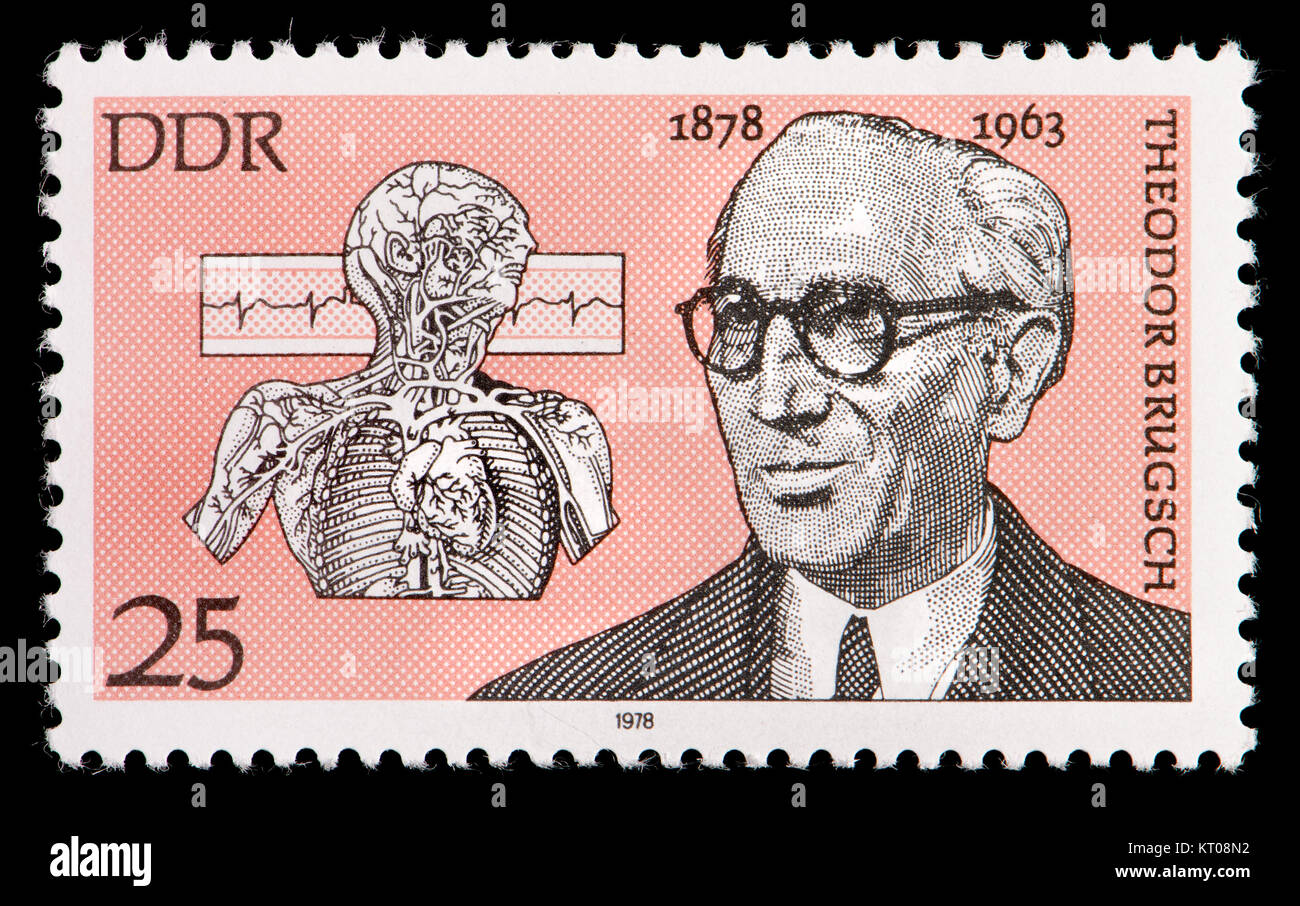 East German (DDR) postage stamp (1978): Theodor Brugsch (1878 – 1963) German internist and politician. - Stock Image