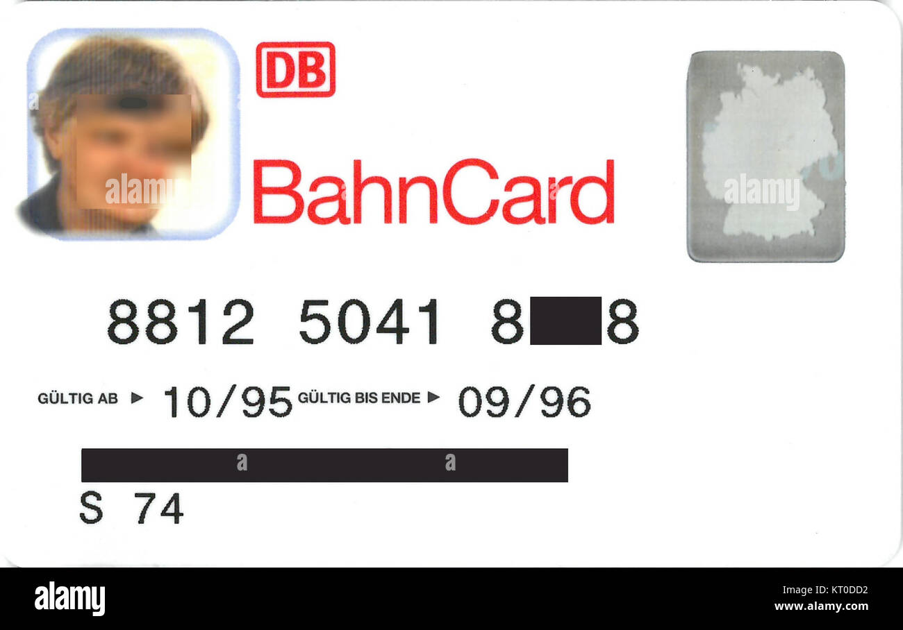 BahnCard-10-1995 - Stock Image