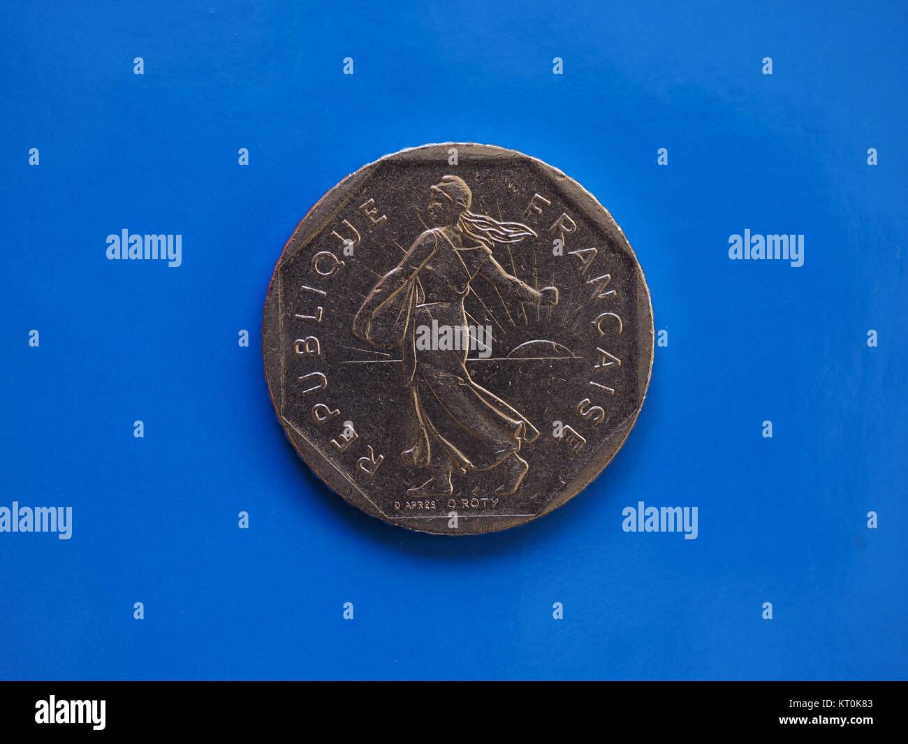 2 francs coin, France over blue - Stock Image