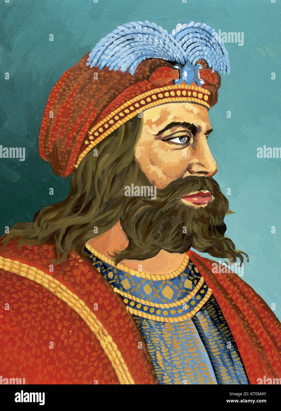 Suintila (588-633/635). Visigothic King of Hispania, Septimania and Galicia from 621 to 631. Portrait. Watercolor. - Stock Image