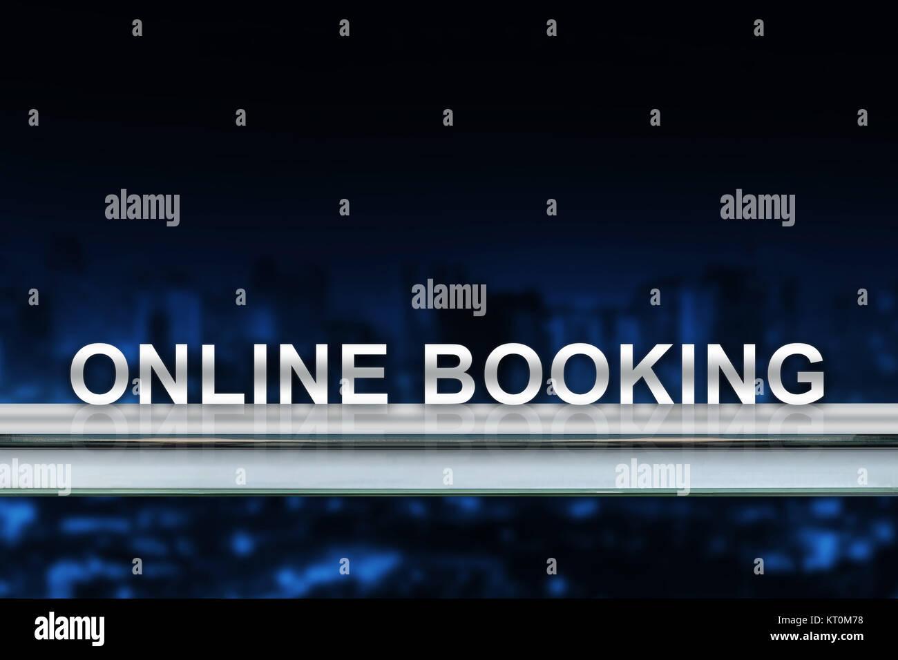 online booking on metal railing - Stock Image