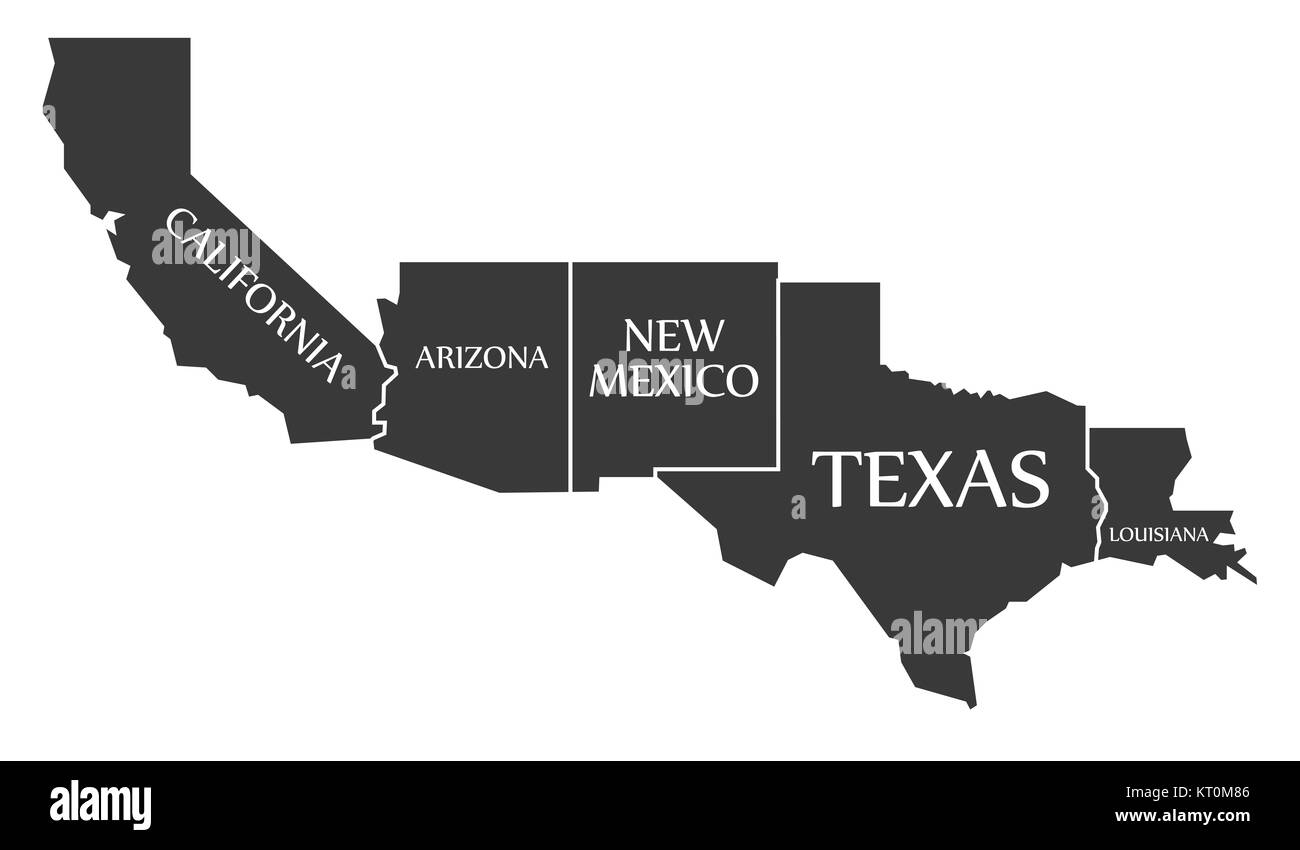 texas and arizona map California Arizona New Mexico Texas Louisiana Map Labelled