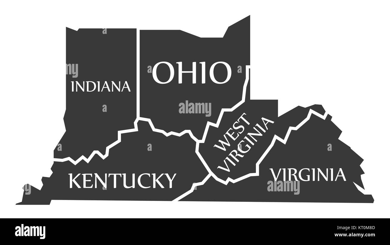 Indiana Kentucky West Virginia Virginia Ohio Map labelled