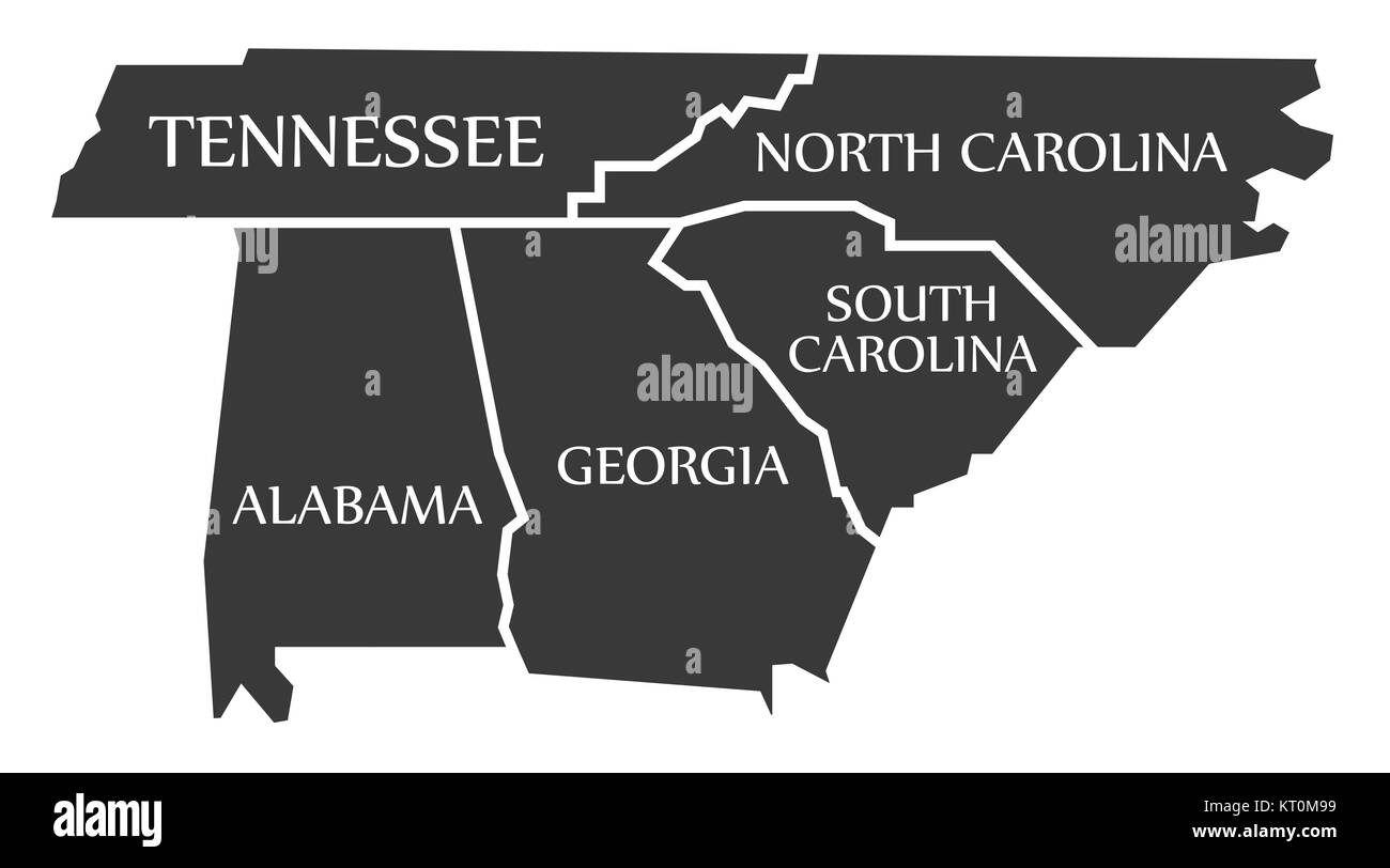 Map Of Georgia Tennessee North Carolina.Tennessee North Carolina Alabama Georgia South Carolina