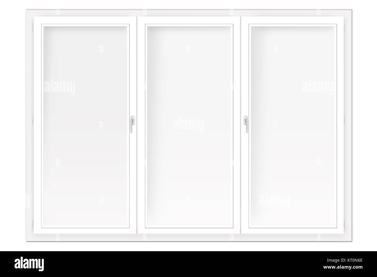 three-leaved window isolated on the white Stock Photo