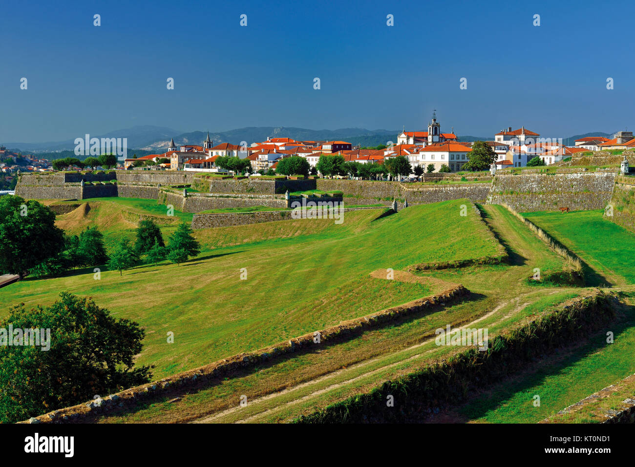 Medieval town walls  and surroundings of fortified Eurocity Valenca do Minho in Portugal - Stock Image