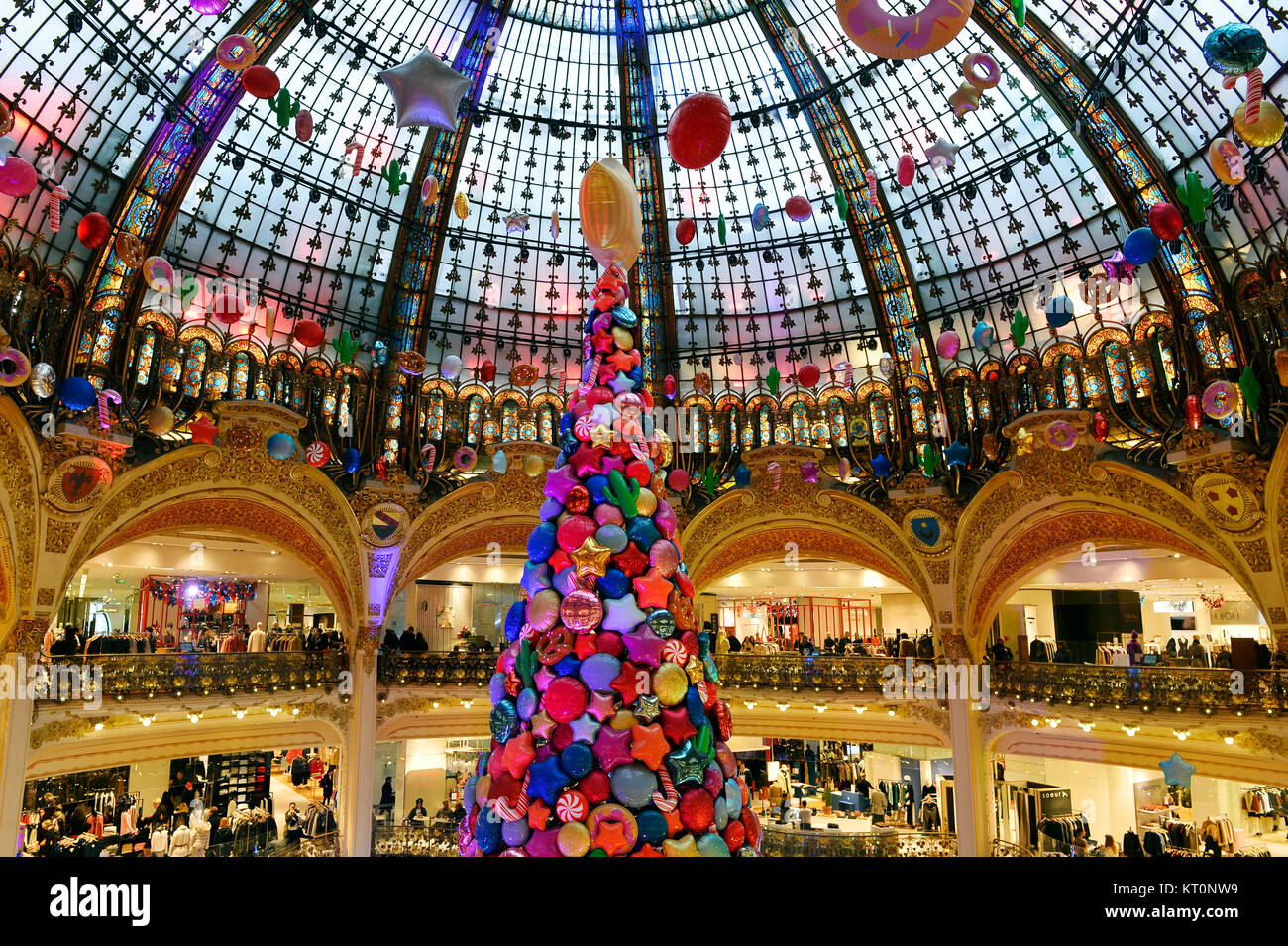 Galeries Lafayette Christmas glass roof - Paris 9th - France - Stock Image