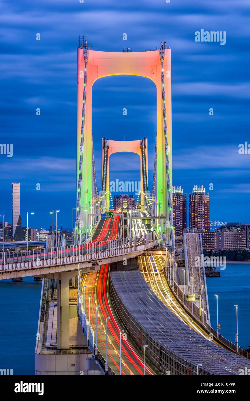 Tokyo, Japan at Rainbow Bridge at night. - Stock Image