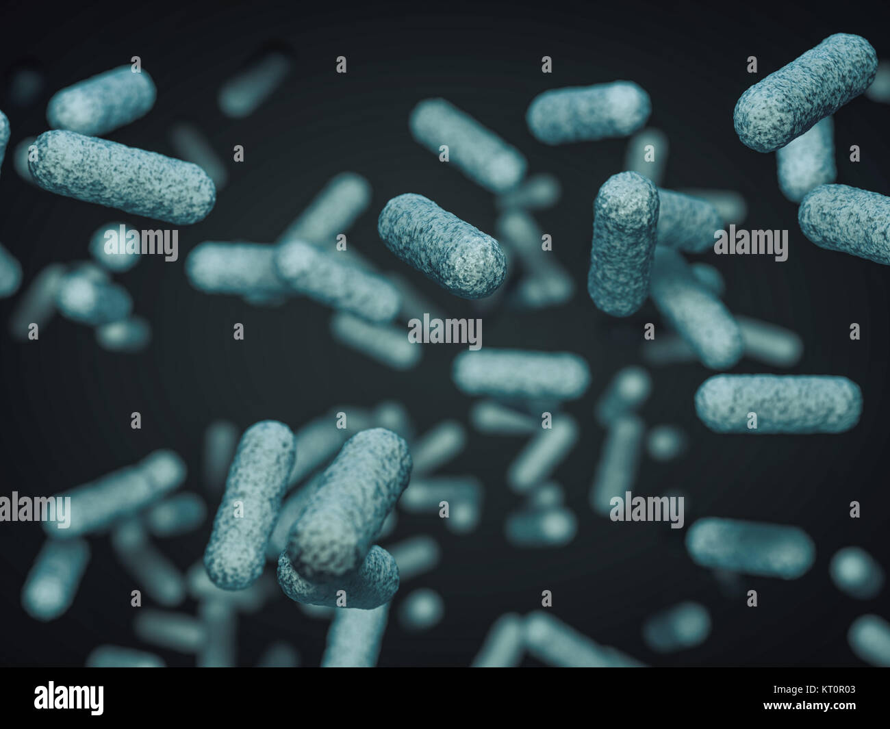 Close up of microscopic bacteria. 3D rendering - Stock Image