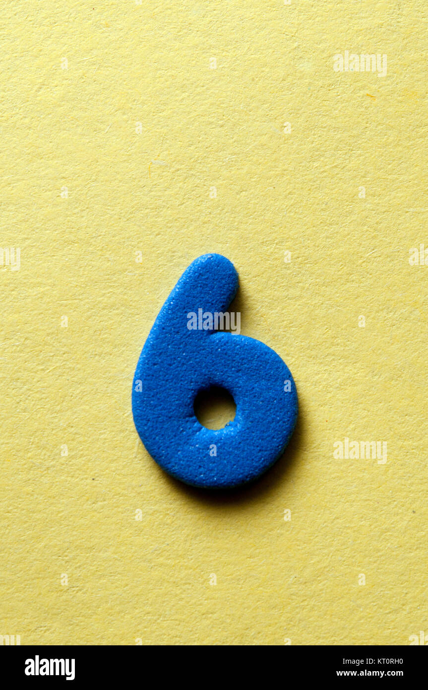 blue number six - Stock Image