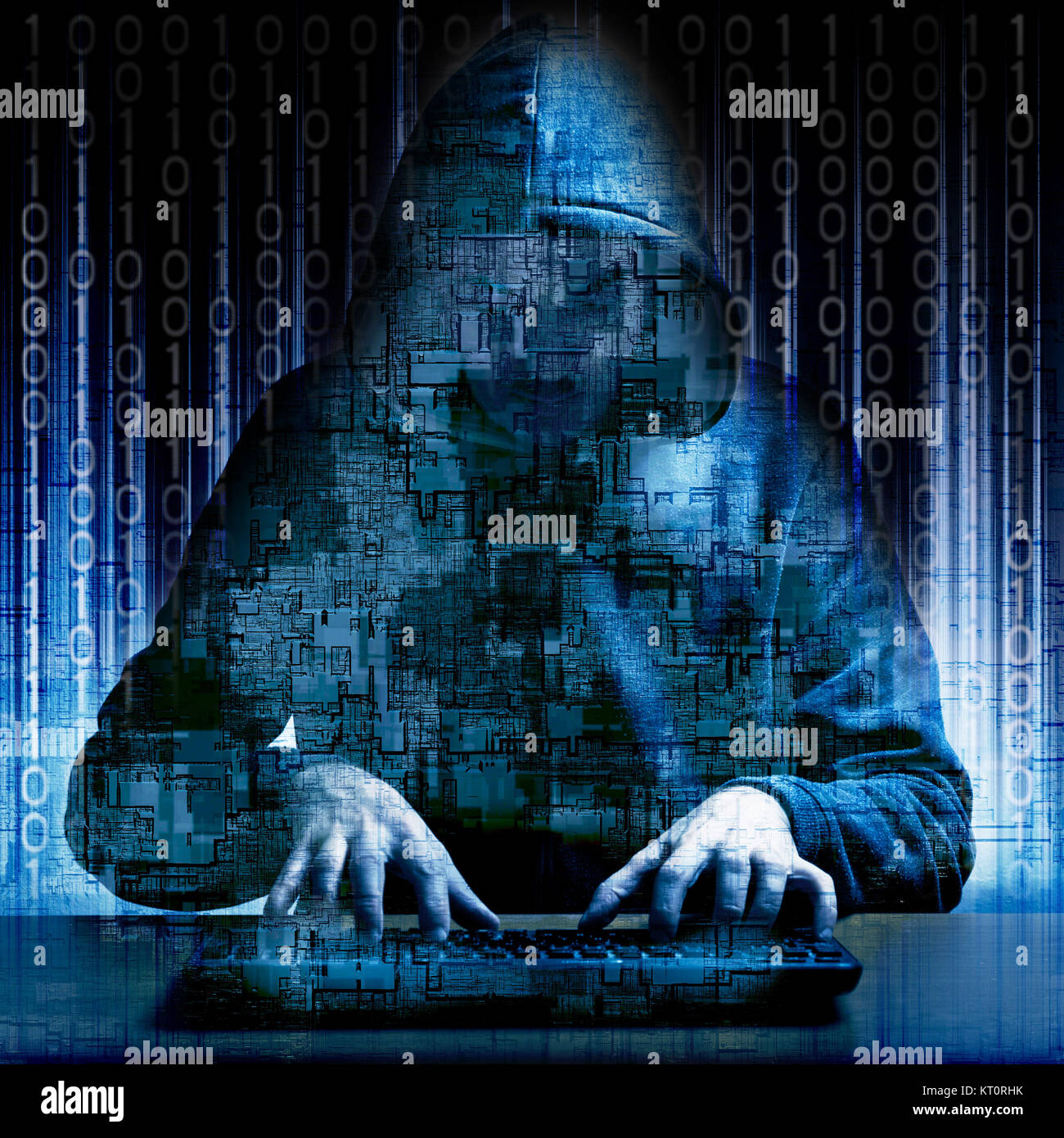 Hacker typing code on a keyboard, cybercrime and dark web concept - Stock Image