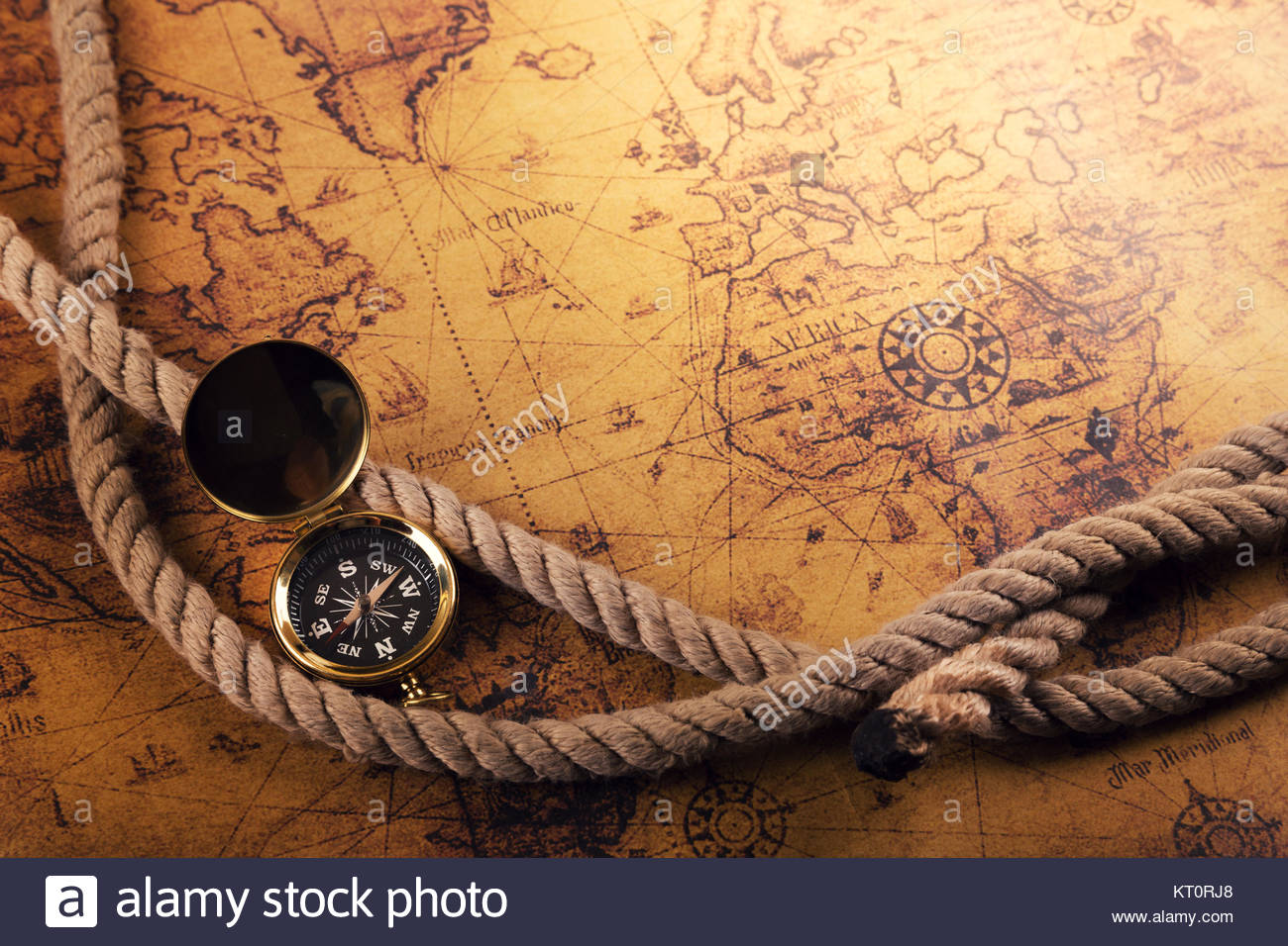 Time For Adventures Vintage Compass And Rope On Old World Map - Old time world map