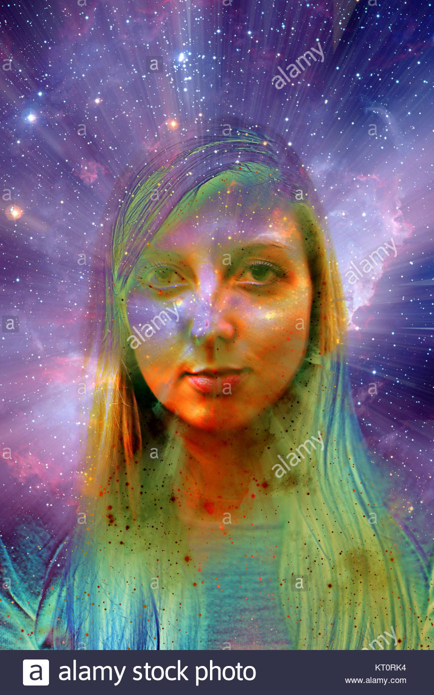 blond girl and space, mystical  modern woman - Stock Image