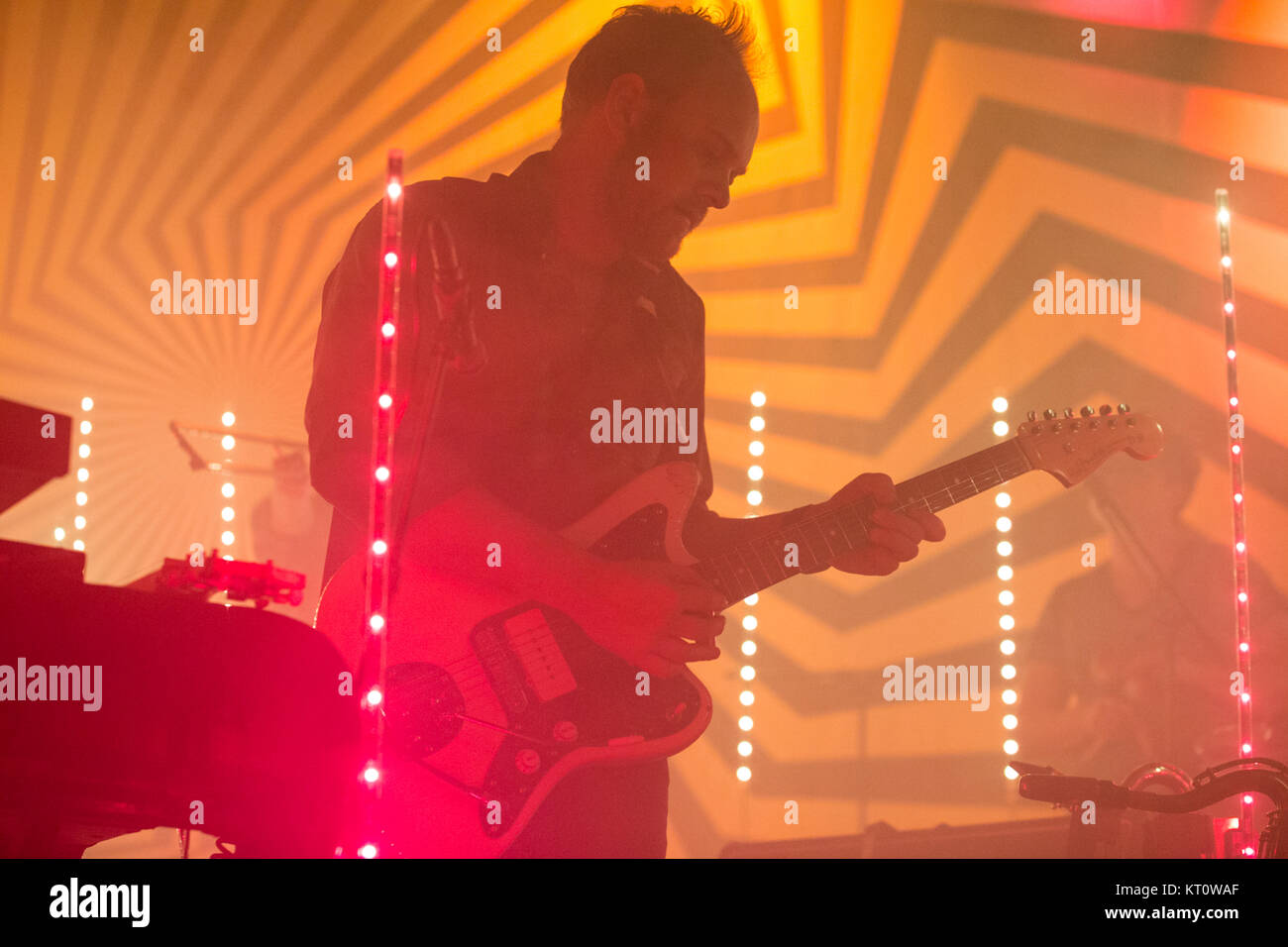 The international acclaimed Norwegian jazz band Jaga Jazzist performs a live concert at Sentrum Scene in Oslo. Here - Stock Image