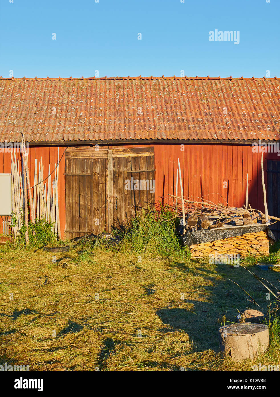 Rural scene with timber building and chopped wood, Graso, Uppland Province, Stockholm archipelago, Sweden, Scandinavia. - Stock Image