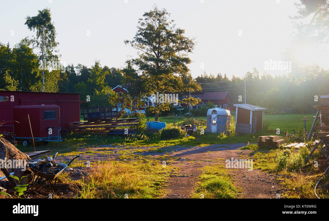 Rural scene, Graso, Uppland Province, Stockholm archipelago, Sweden, Scandinavia.  Graso is an island off the coast - Stock Image