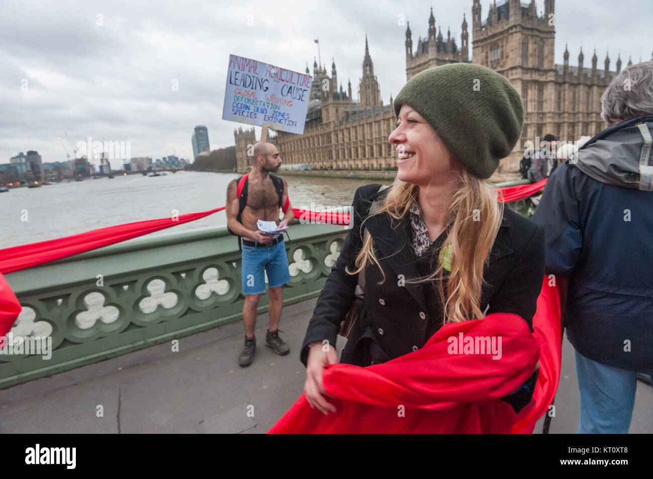 Green Party London Mayoral Candidate Sian Berry holds part of the red line on Westminster Bridge in the Campaign - Stock Image