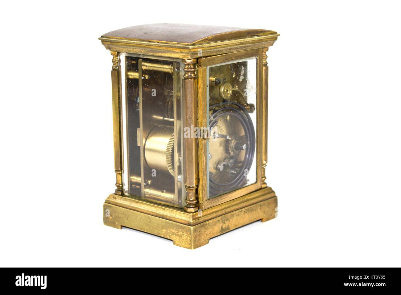 Vintage Timepiece Clock on White Background - Stock Image