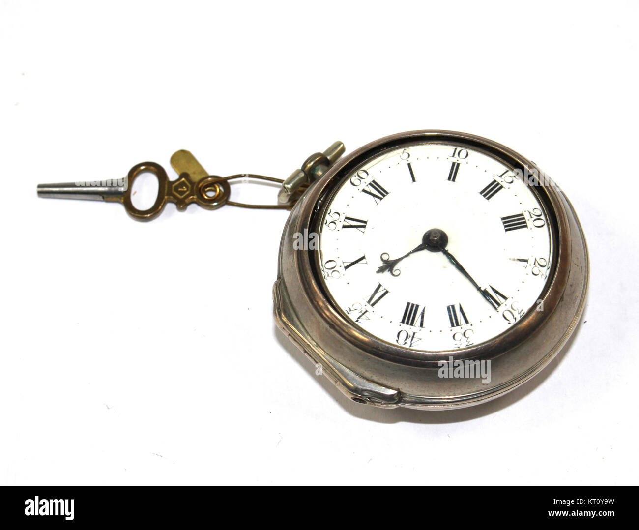 Vintage Timepiece Clock on White Background - Stock Image