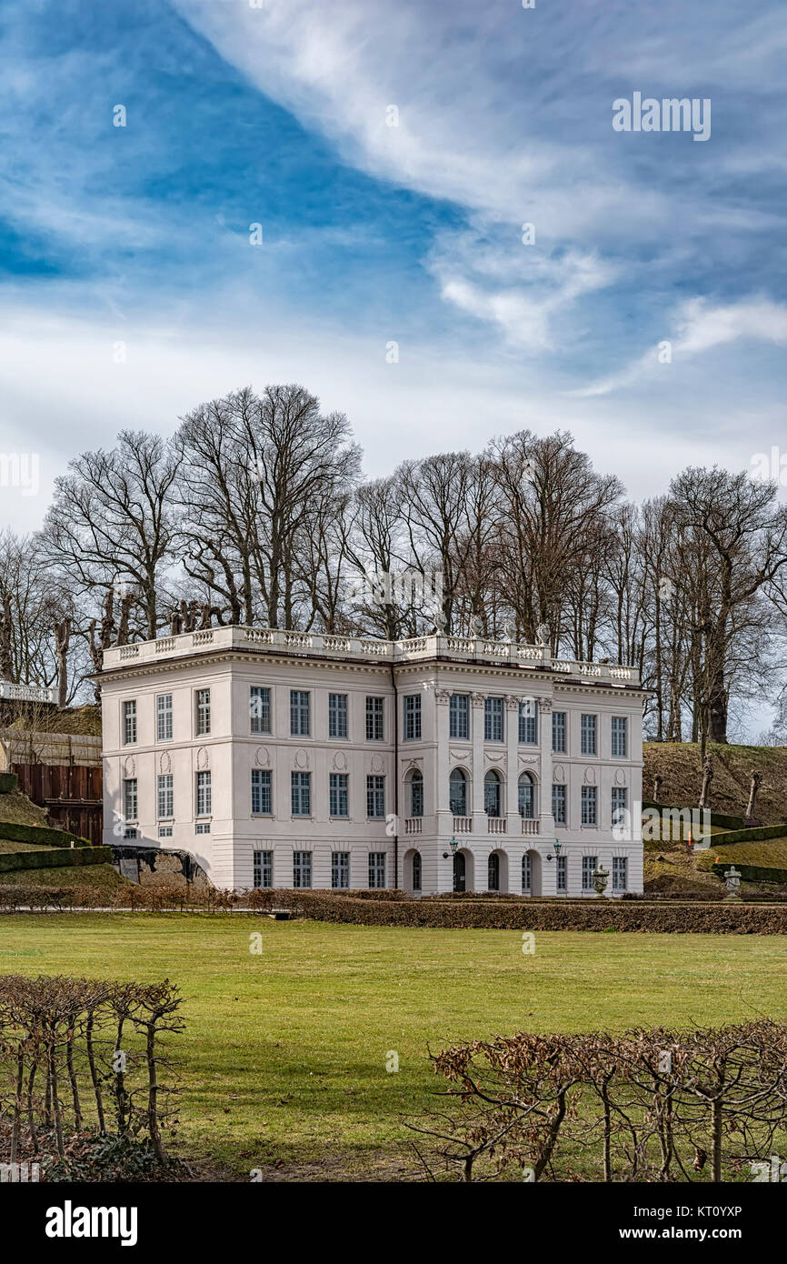 Image of Marienlyst Castle and its public gardens. Helsingor, Denmark. - Stock Image