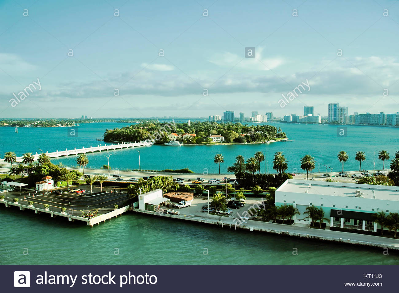 Aerial view of Star island in South Beach Neighborhood Of Miami - Stock Image