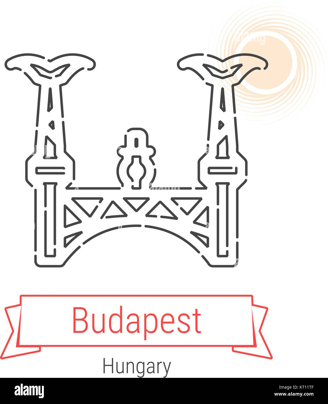 Budapest, Hungary Vector Line Icon - Stock Vector