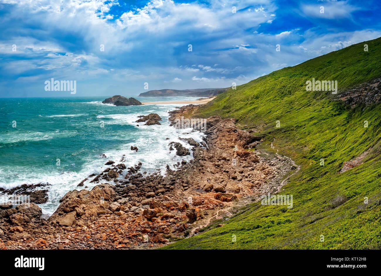 Tremendous Robbberg nature reserve coastline at Plettenberg bay, South Africa. Stock Photo