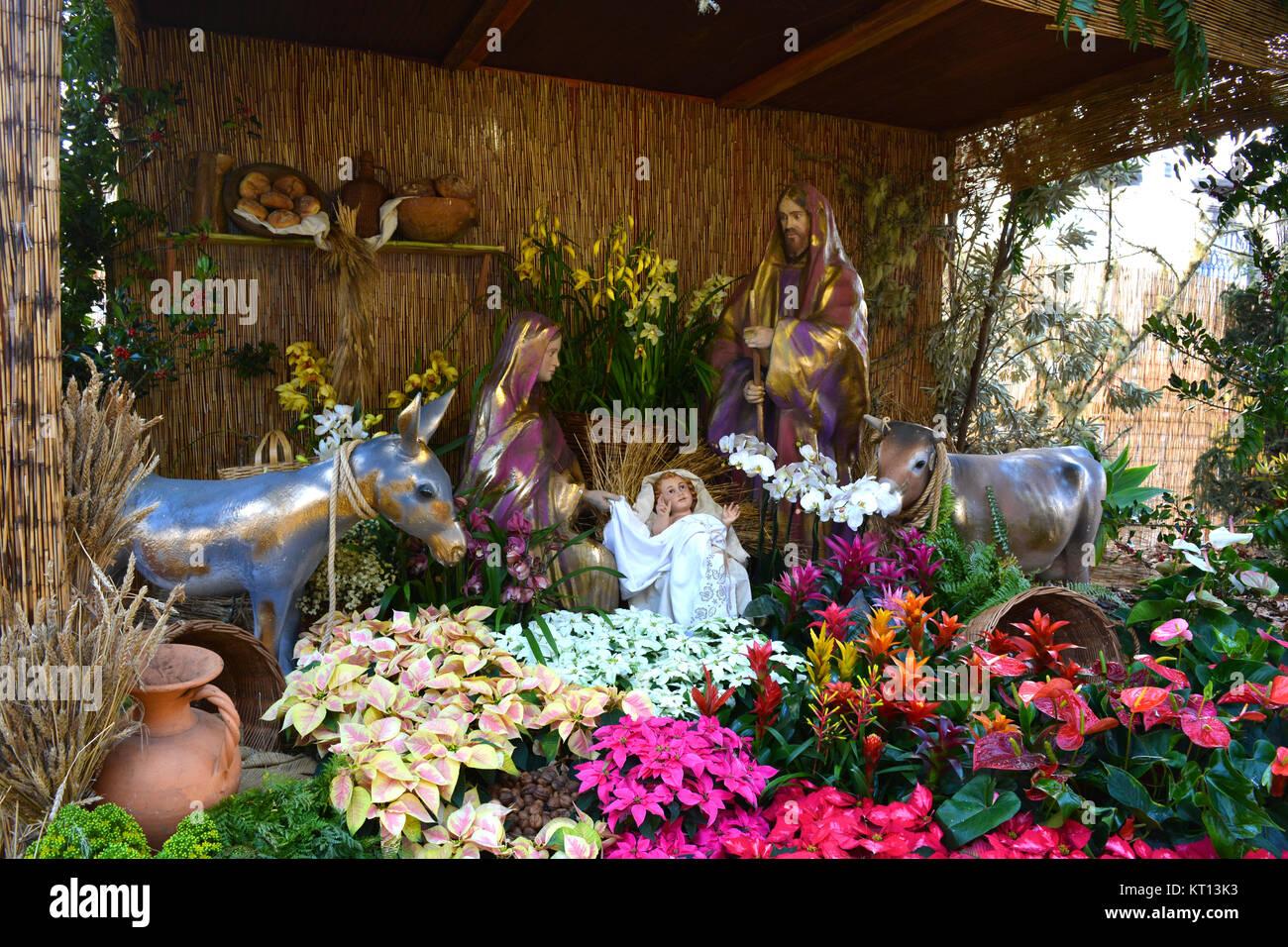 Nativity scene, or presépios, in the Avenida Arriaga, Funchal, Madeira, Portugal - Stock Image