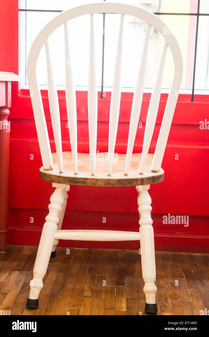 Single vintage white kitchen chair Stock Photo: 169670793 ...