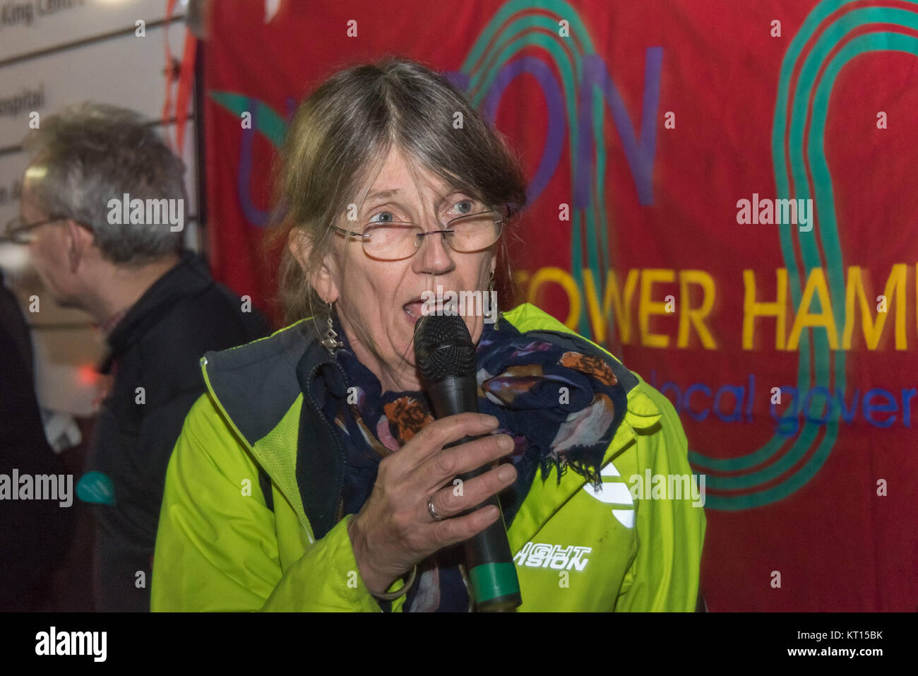Dr Anna Livingstone chaired the Christmas protest outside old Royal London Hospital supporting Junior Doctors & - Stock Image