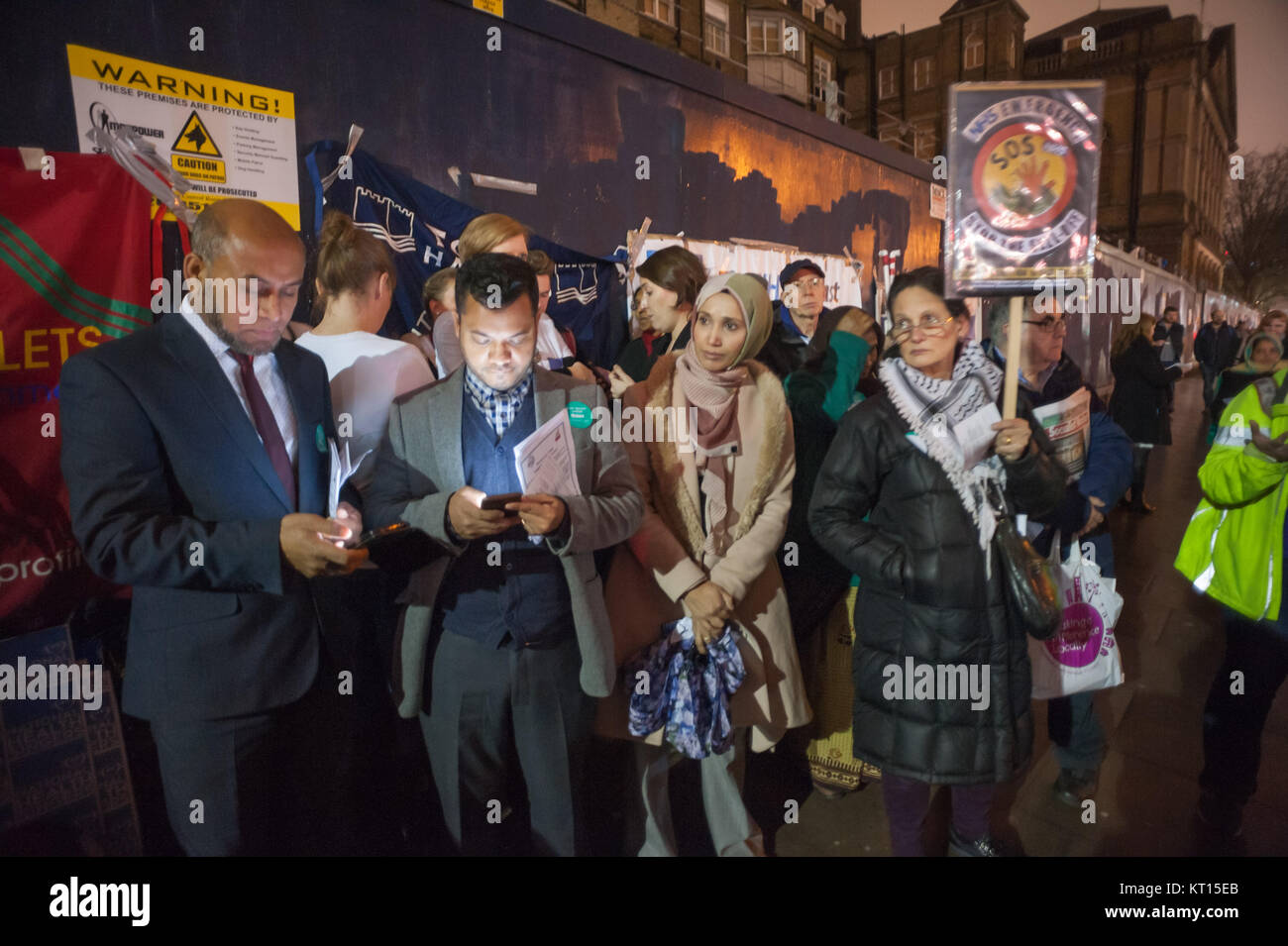 Christmas protest outside old Royal London Hospital supporting Junior Doctors & Student Nurses fights against - Stock Image