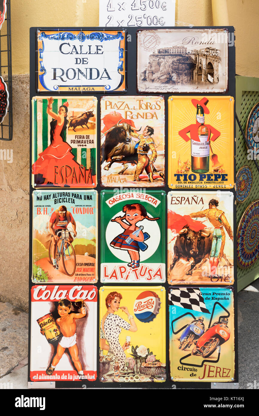 Souvenir copies of old Spanish advertisements, printed on metal.  Ronda, Malaga Province, Andalusia, southern Spain. - Stock Image