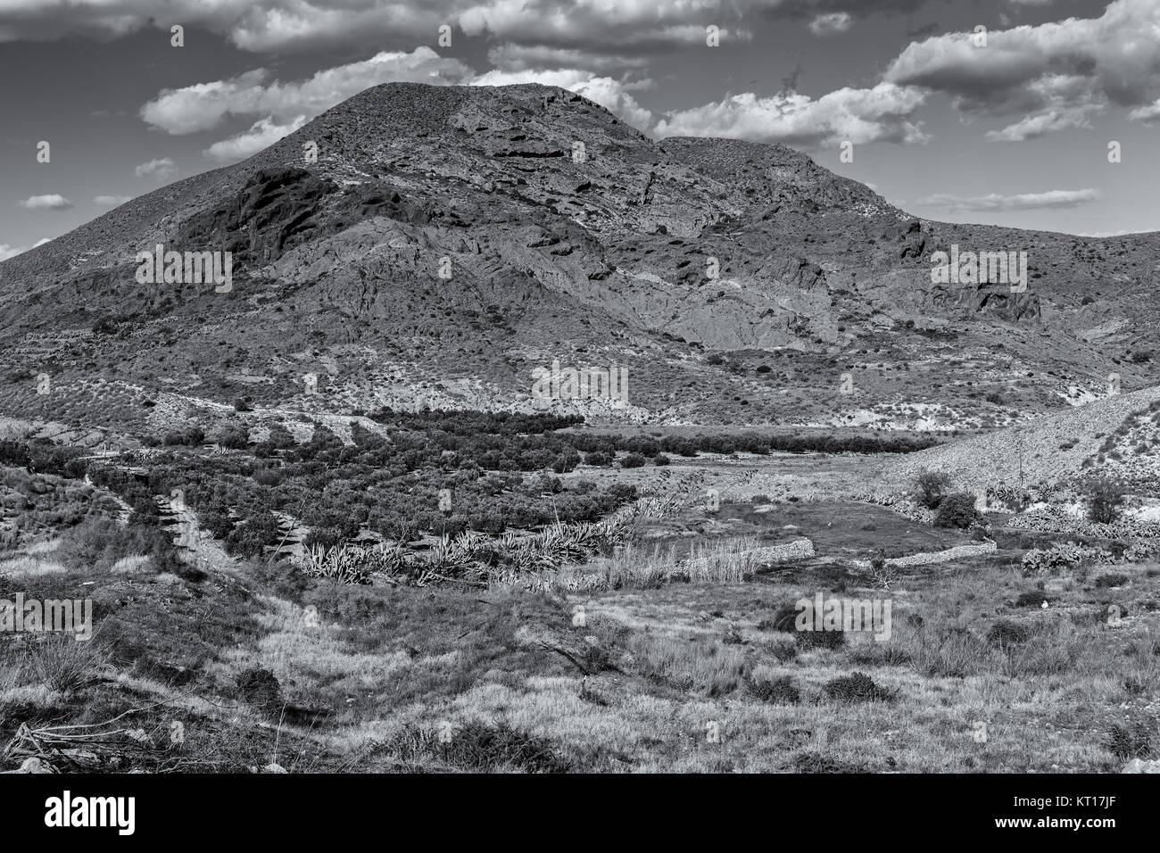 Landscape in the Valle de Rodalquilar. Natural Park of Cabo de Gata. Spain. Stock Photo