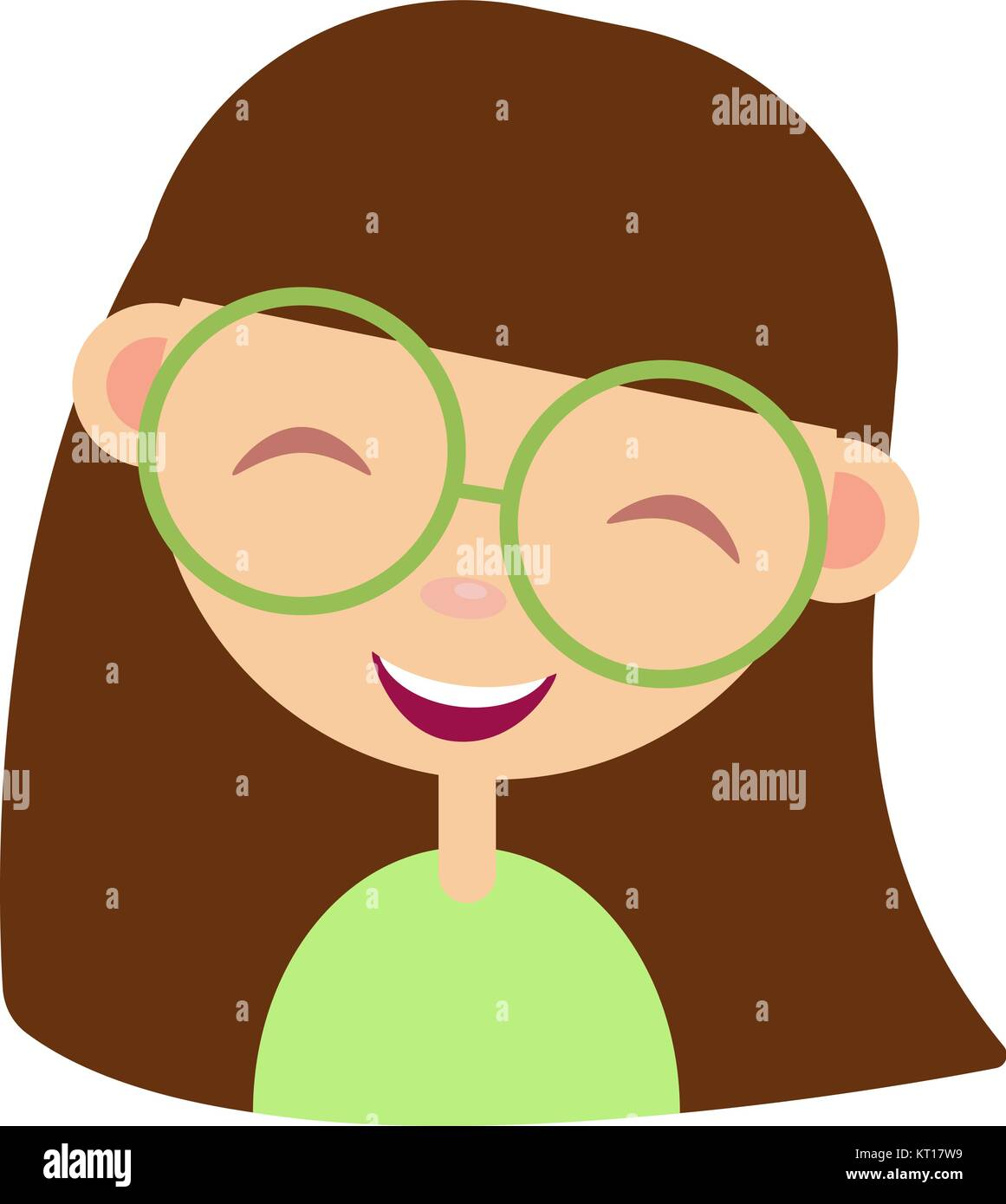 Cartoon girl nerd funny female character in glasses child showing banner with place for your message flat vector design