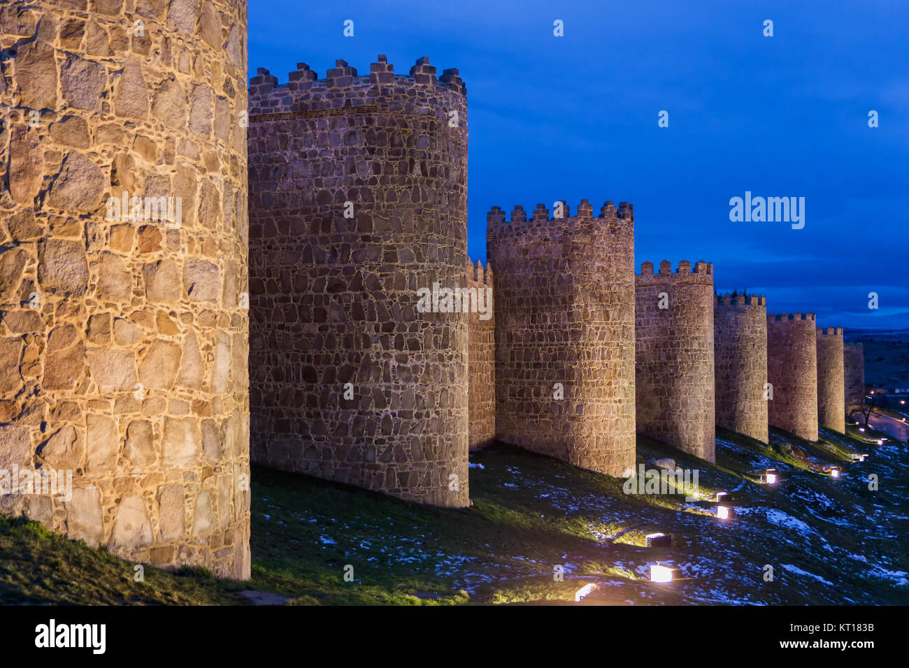 Ávila's 11th century city walls are the most important and best preserved of the Spanish medieval walls, - Stock Image