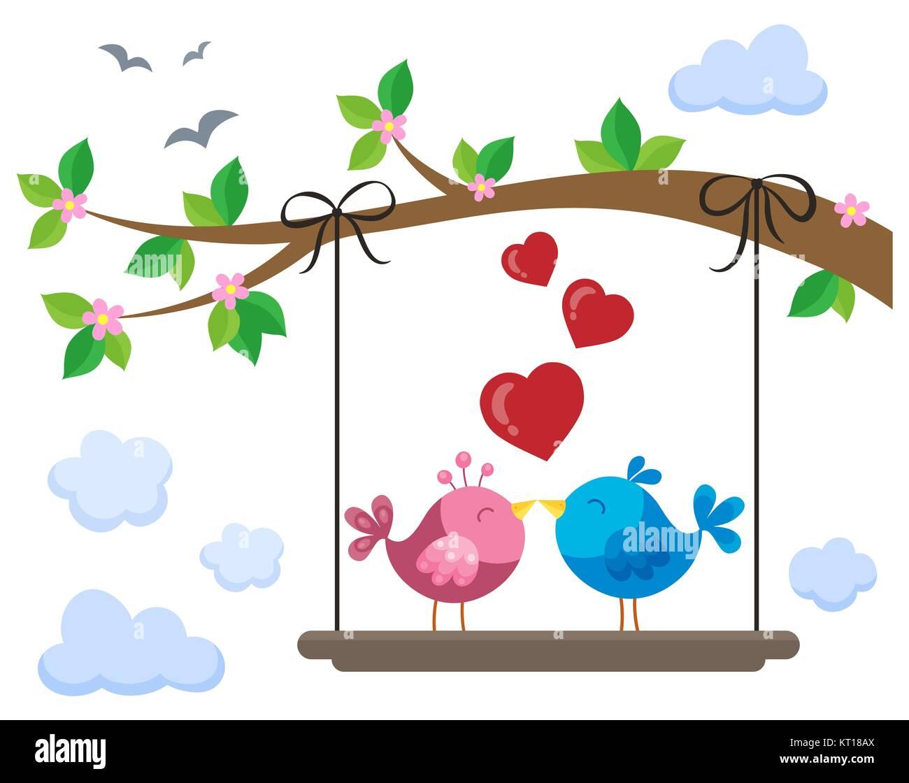 Valentine birds on board below branch 1 - Stock Image