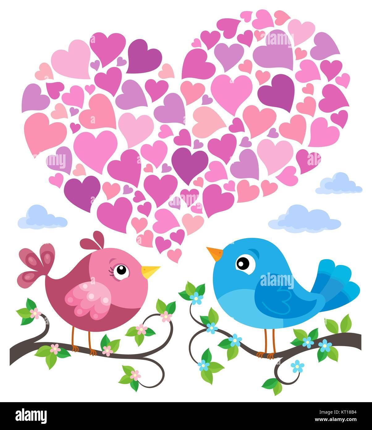 Valentine birds with heart shape theme 1 - Stock Image
