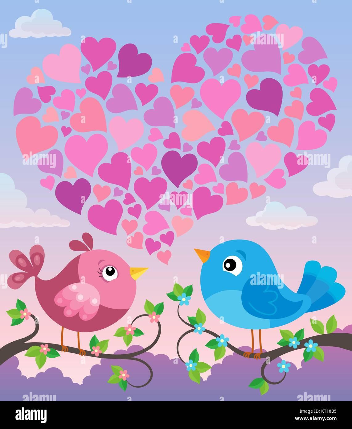 Valentine birds with heart shape theme 2 - Stock Image