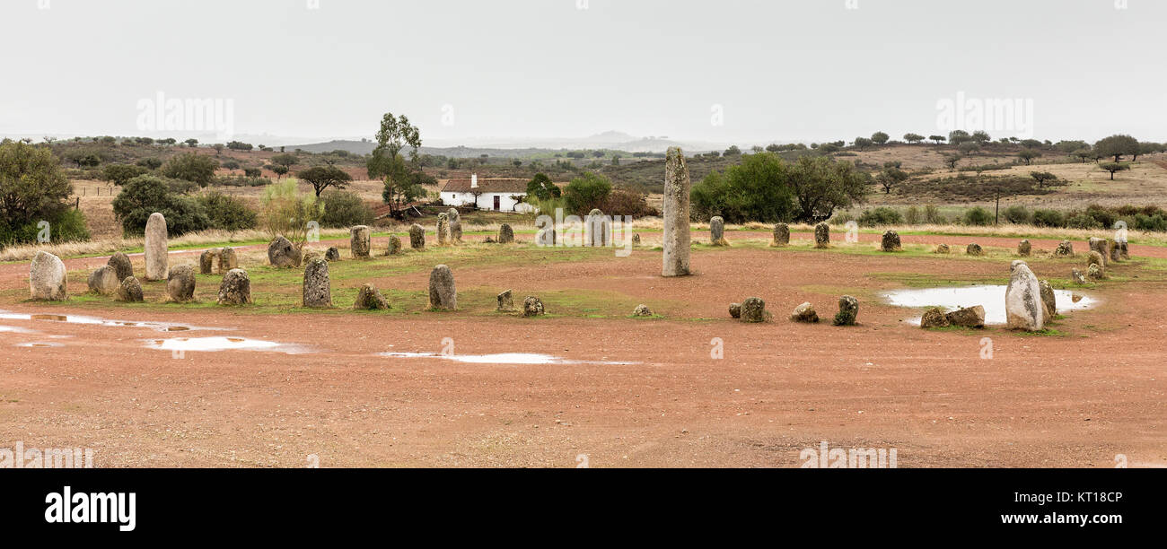 The cromlech of Xerez is an extraordinary megalithic monument comprised of 50 granite mehnires. It must have been - Stock Image
