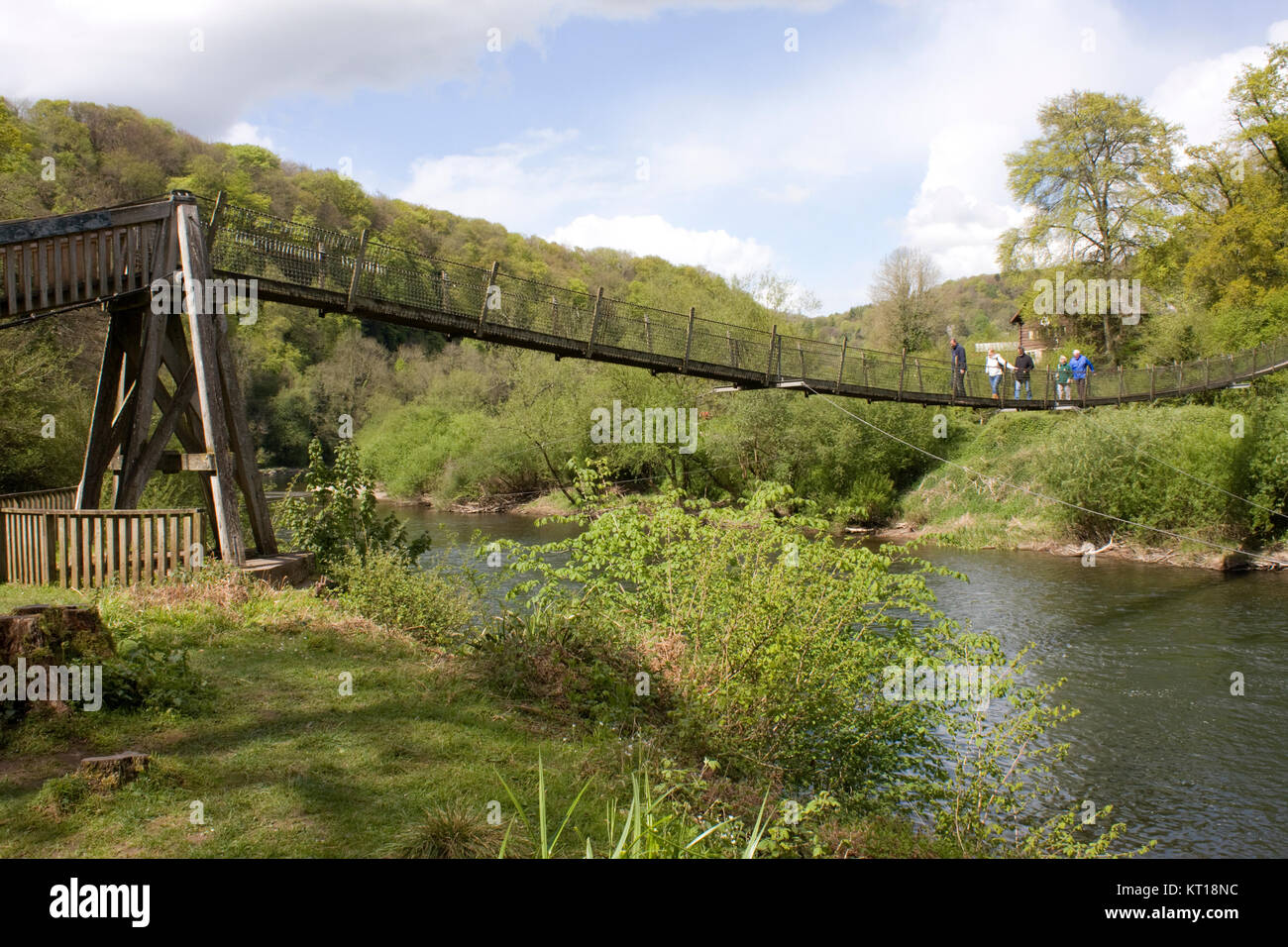 wire bridge over the river wye forest of dean england stock photo