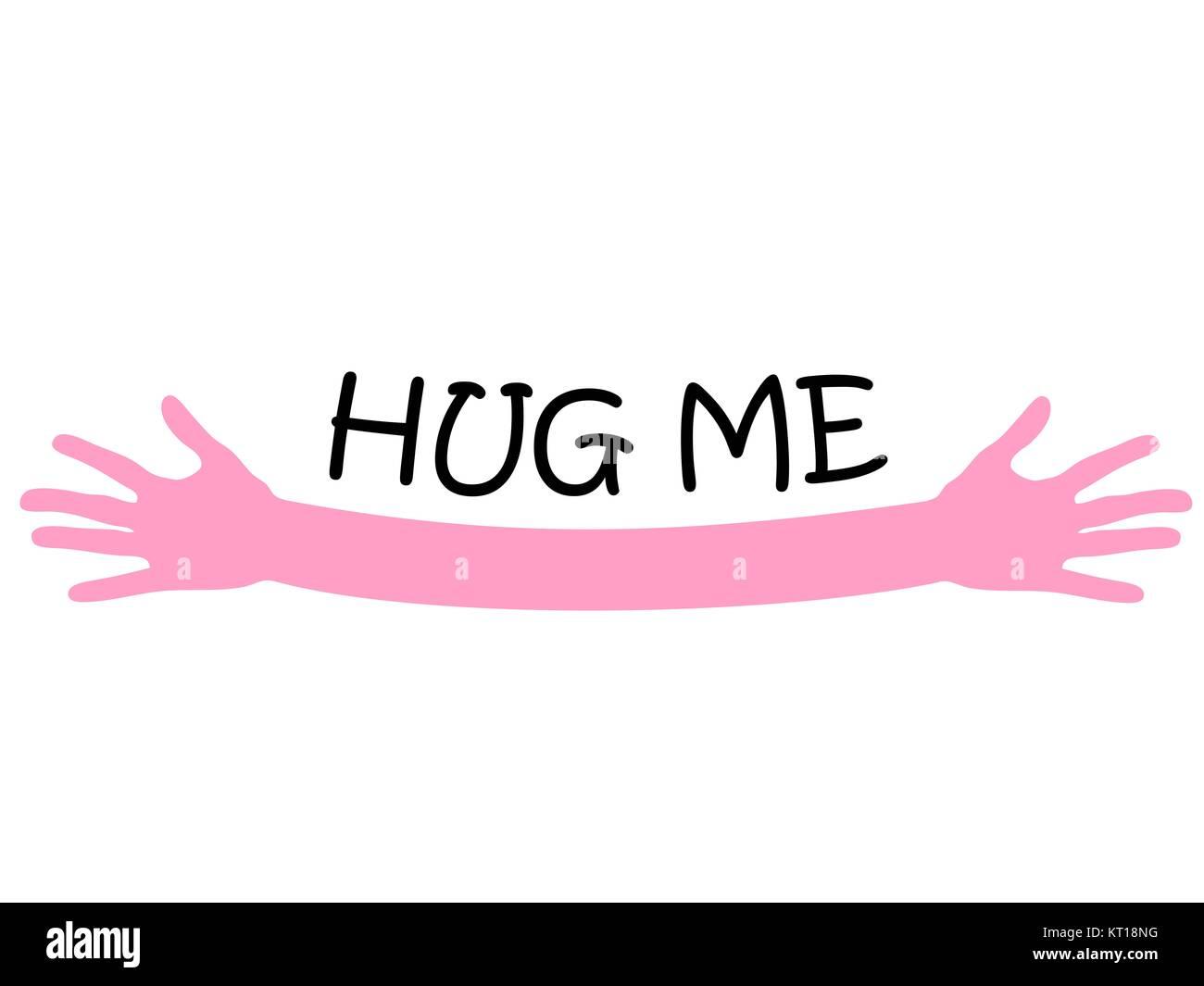Hug me written above pink open arms hands, vector - Stock Image