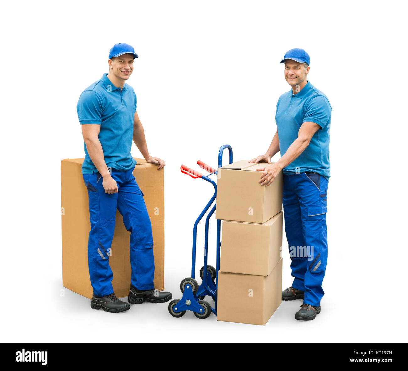 Courier Men Standing With Cardboard Boxes - Stock Image