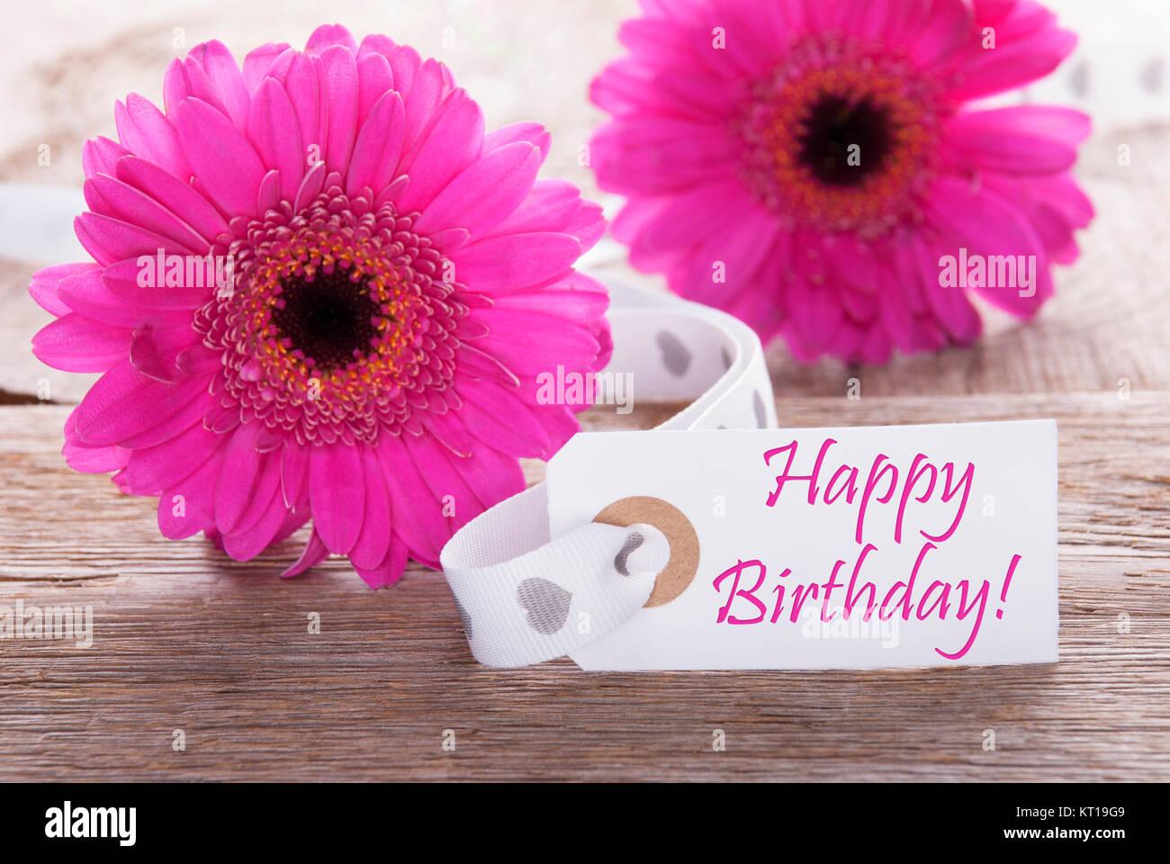 Auguri Matrimonio Tedesco : Label with english text happy birthday pink spring