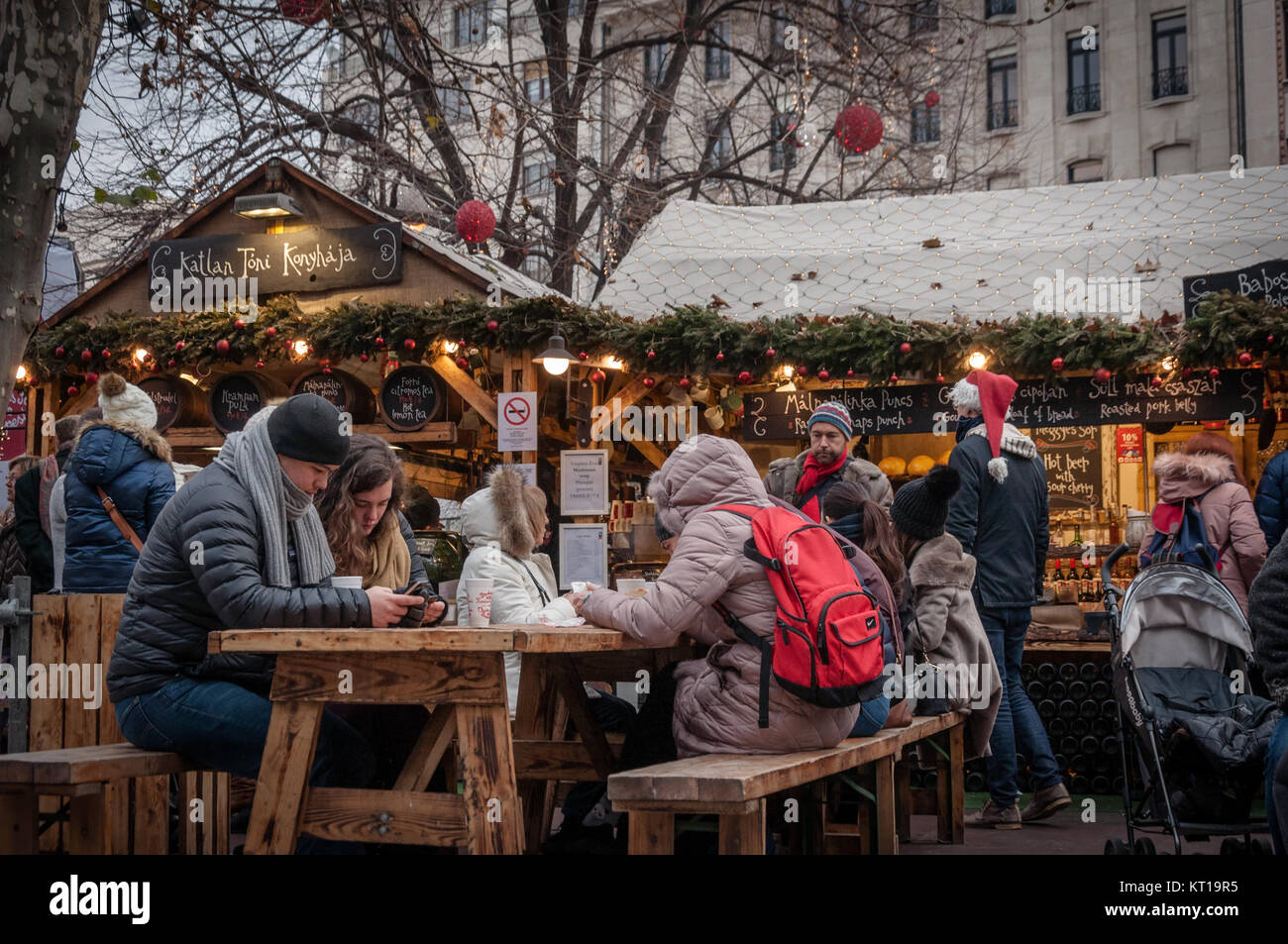 Christmas market in Budapest at Vörösmarty Square Stock Photo