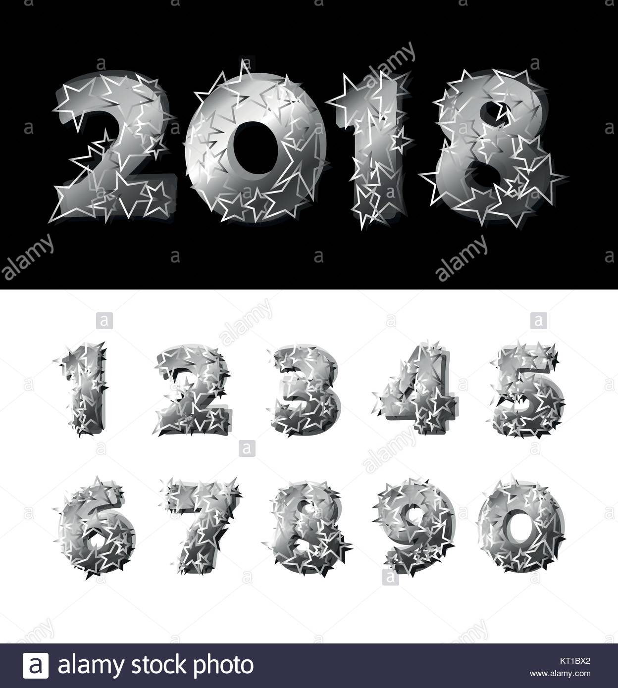 Vector funny set of silver numbers with stars over black and