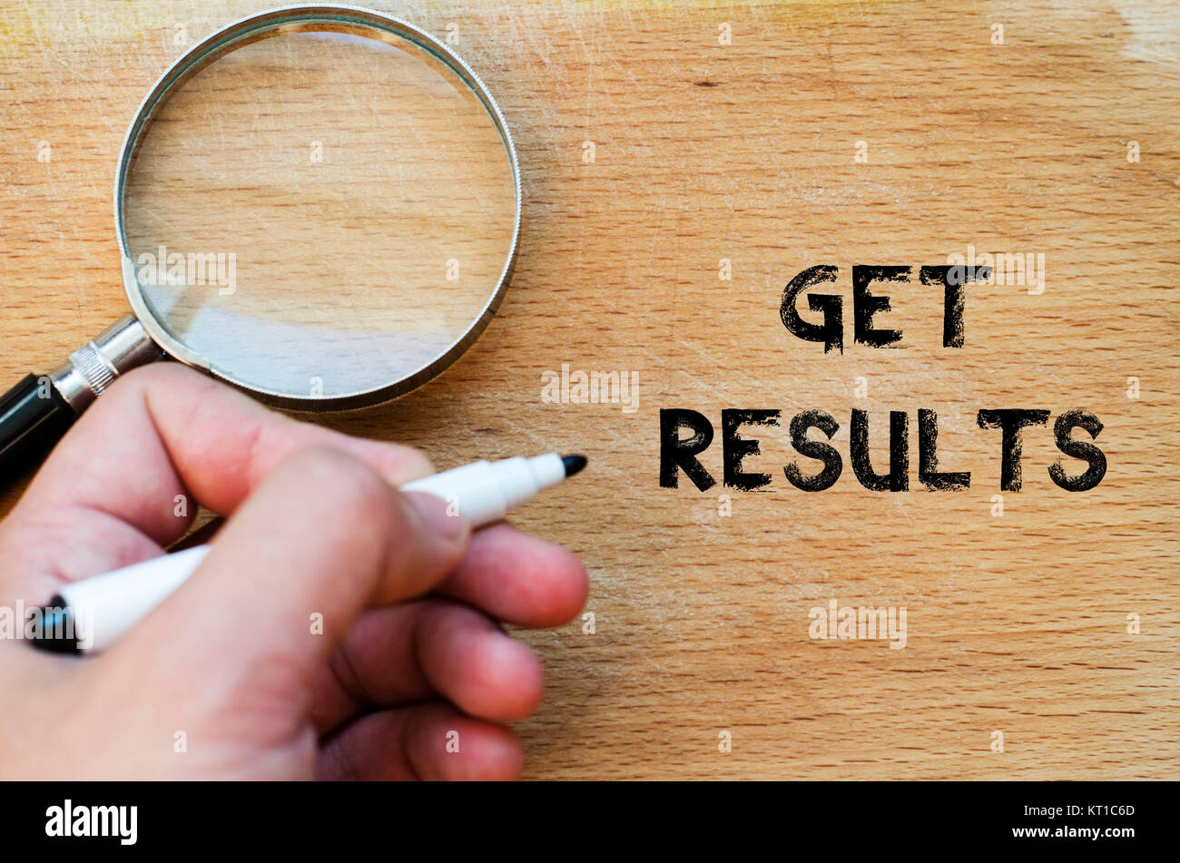 Get results text concept - Stock Image