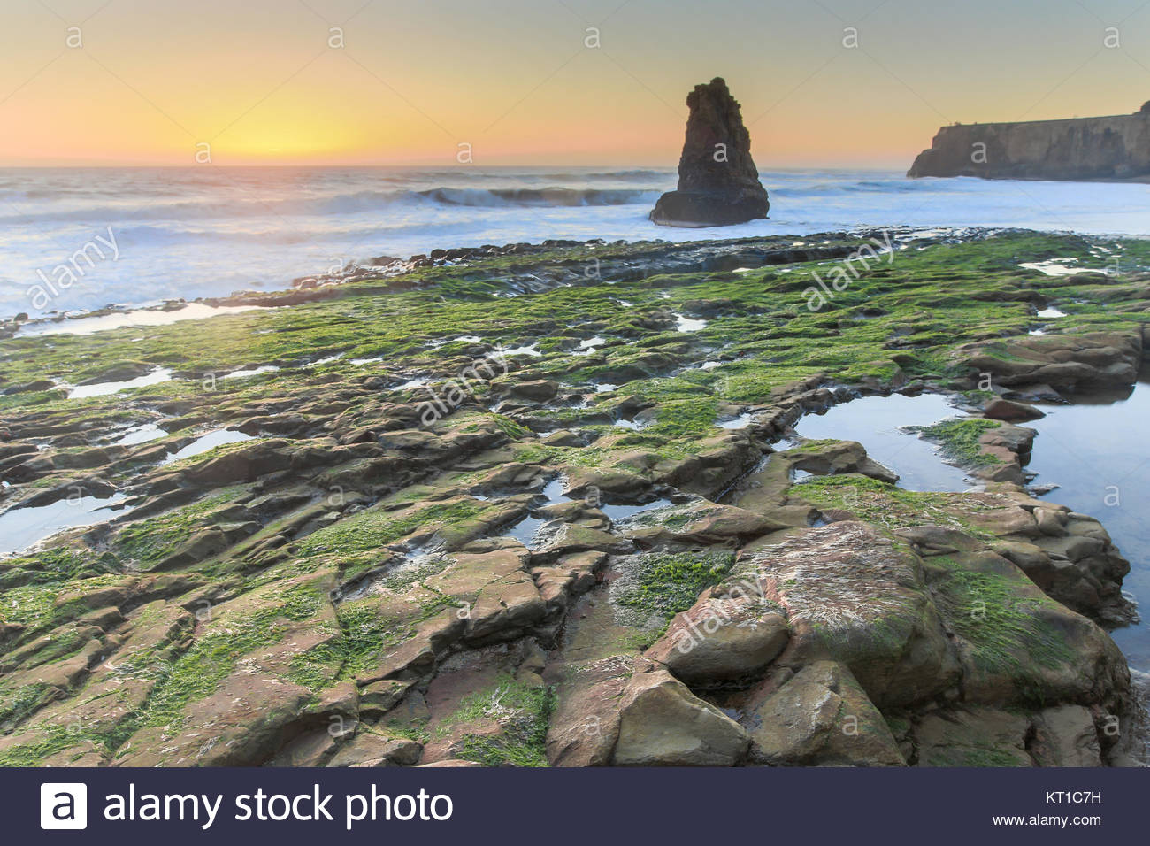 Davenport Rugged Coastline Sunset - Stock Image